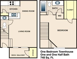 748 sq. ft. A3 floor plan