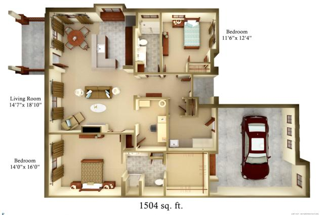 1,504 sq. ft. Cottage floor plan