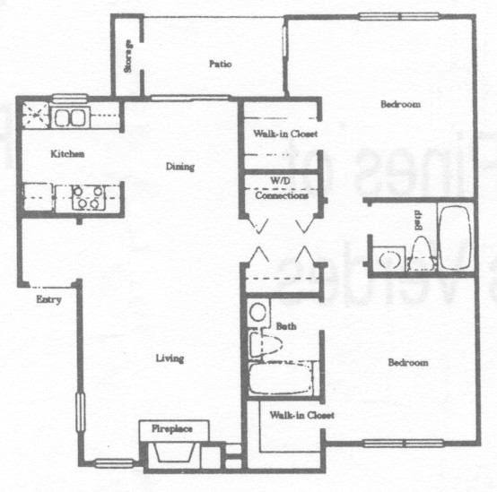963 sq. ft. B2 floor plan