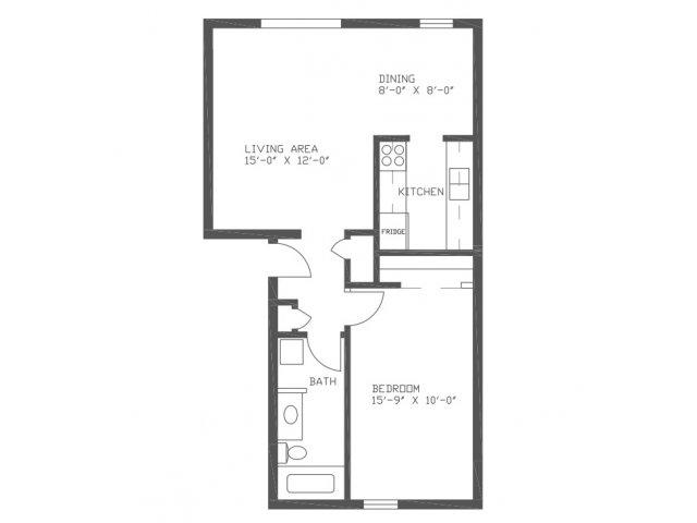690 sq. ft. AN1 floor plan
