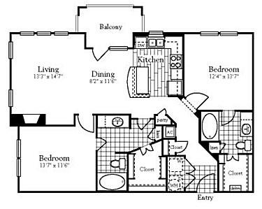 1,125 sq. ft. to 1,228 sq. ft. B3 floor plan