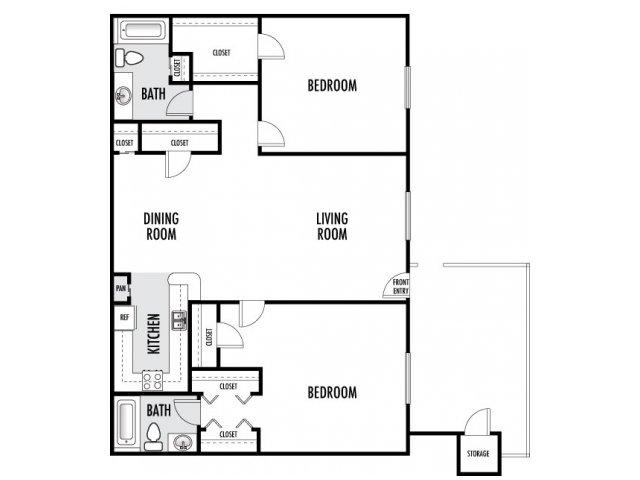 956 sq. ft. floor plan