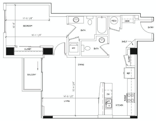 846 sq. ft. MONET floor plan