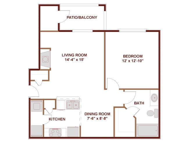 700 sq. ft. to 895 sq. ft. 11A floor plan