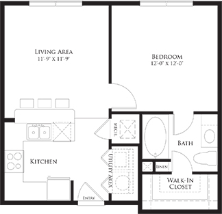 584 sq. ft. 6A1 floor plan