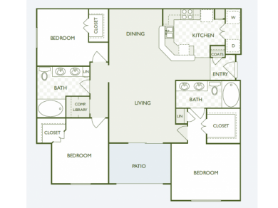 1,348 sq. ft. C1.2 floor plan