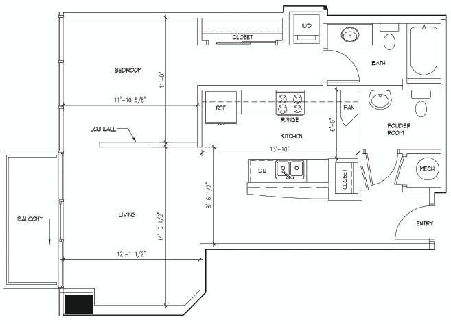 767 sq. ft. MATISSE floor plan