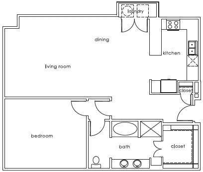 1,121 sq. ft. 1407 E-1 floor plan