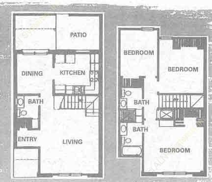 1,230 sq. ft. C floor plan