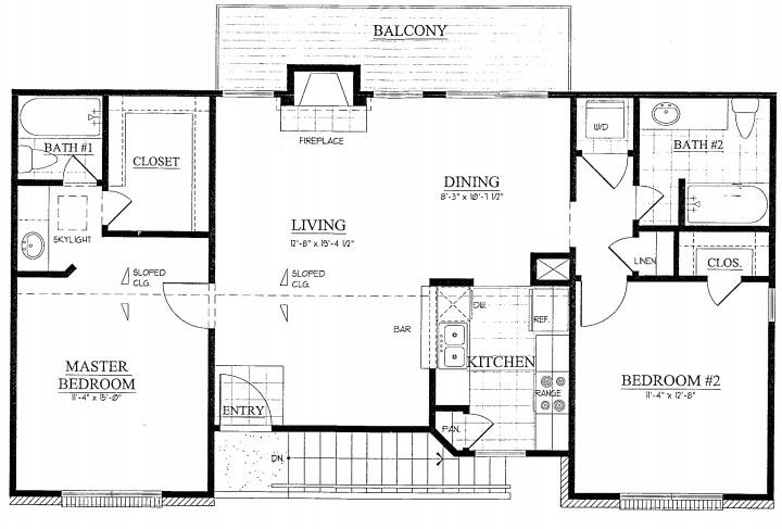 1,033 sq. ft. floor plan