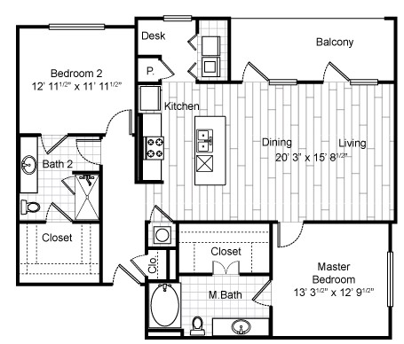 1,267 sq. ft. B5 floor plan