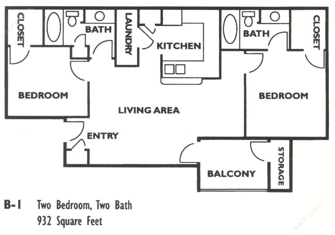 985 sq. ft. B1 floor plan