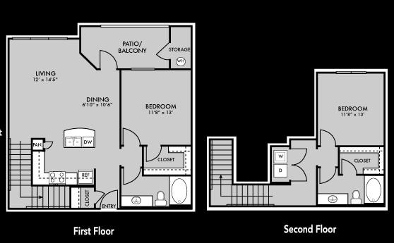 1,250 sq. ft. B4 floor plan