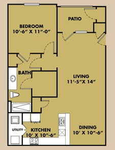 813 sq. ft. A1 floor plan
