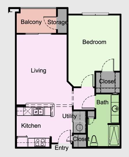 727 sq. ft. Bradford/A2 floor plan