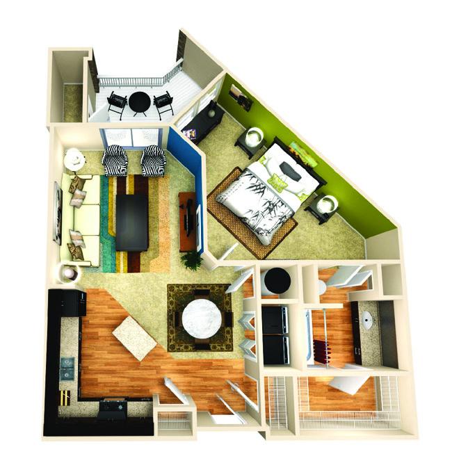 825 sq. ft. Inspire floor plan