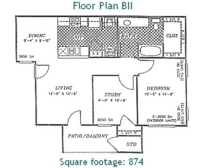874 sq. ft. PHASE II floor plan