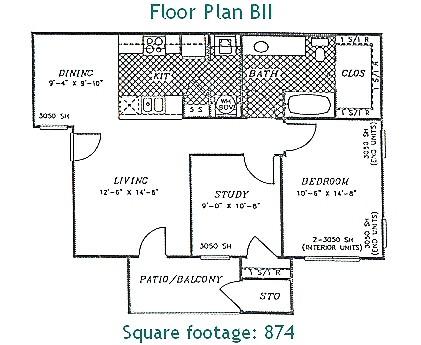874 sq. ft. PHASE II floor plan
