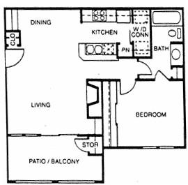 654 sq. ft. A3 floor plan