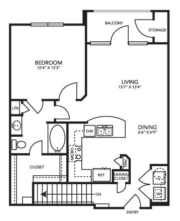 808 sq. ft. A2G floor plan