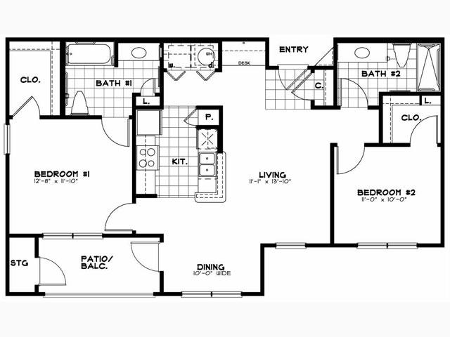 987 sq. ft. Laurel floor plan