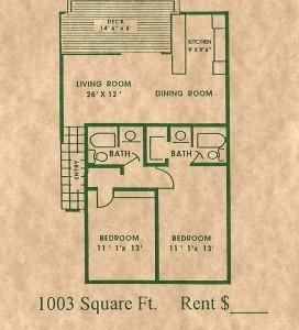 1,003 sq. ft. floor plan