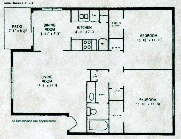 901 sq. ft. B-1 floor plan