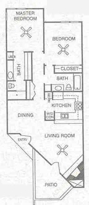 1,012 sq. ft. B4V floor plan