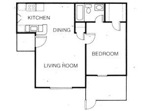 615 sq. ft. A4 floor plan