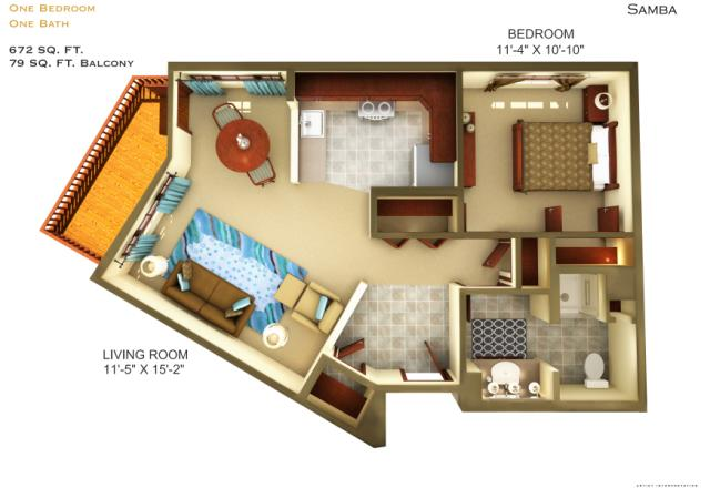 672 sq. ft. A3 floor plan