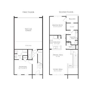 1,199 sq. ft. 2THB1.1GG floor plan