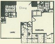 696 sq. ft. SAN JOAQUIN floor plan
