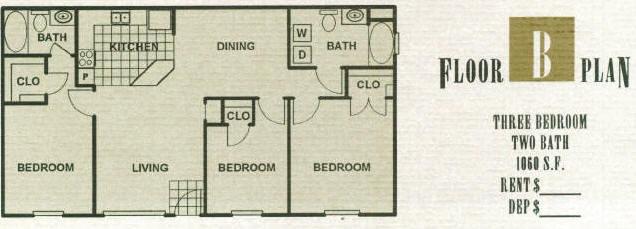 1,060 sq. ft. 60% floor plan