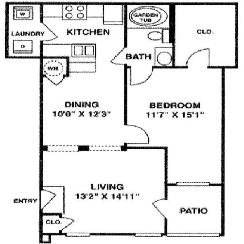 877 sq. ft. A2 LOWER floor plan