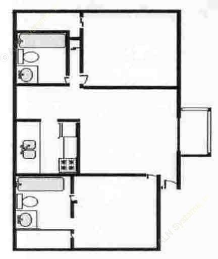 880 sq. ft. B floor plan