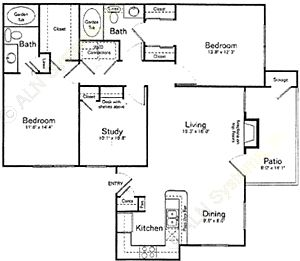 1,256 sq. ft. C1 floor plan