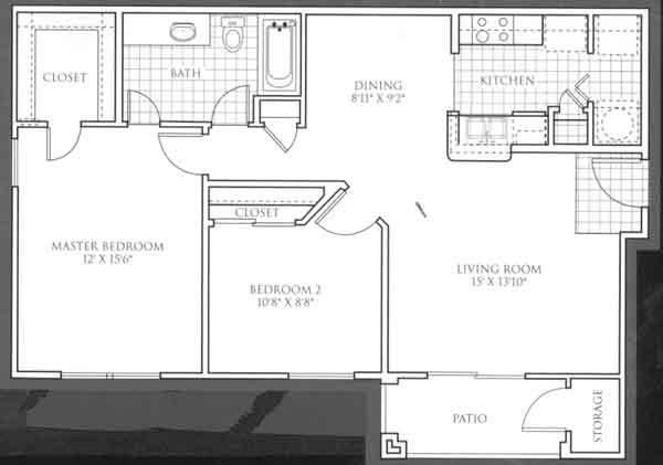 885 sq. ft. Augusta floor plan
