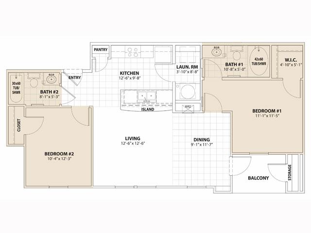 908 sq. ft. MKT floor plan