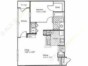 745 sq. ft. PINE NEEDLES floor plan