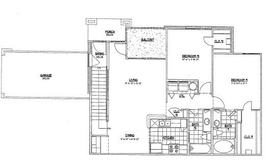 962 sq. ft. D4 floor plan