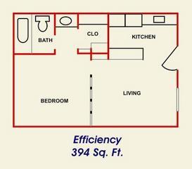 394 sq. ft. floor plan