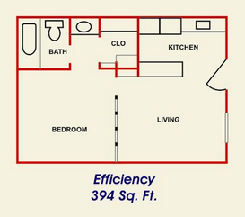 394 sq. ft. floor plan