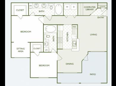 1,189 sq. ft. B8.2 floor plan
