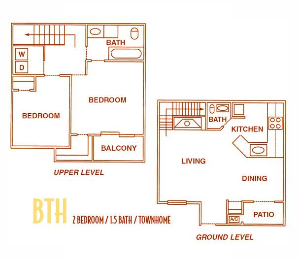 1,000 sq. ft. BTH -BTHU floor plan