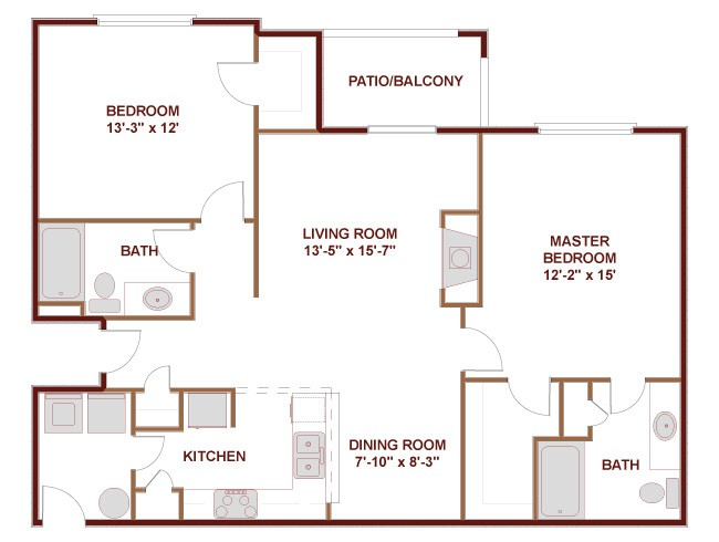 1,086 sq. ft. to 1,360 sq. ft. 22B floor plan