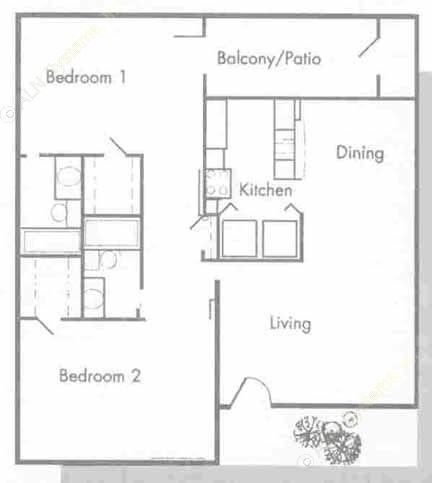 977 sq. ft. B2 floor plan