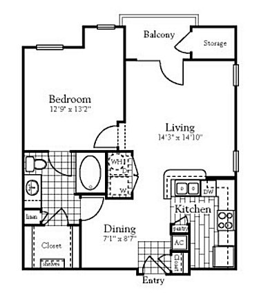 743 sq. ft. to 760 sq. ft. A3 floor plan