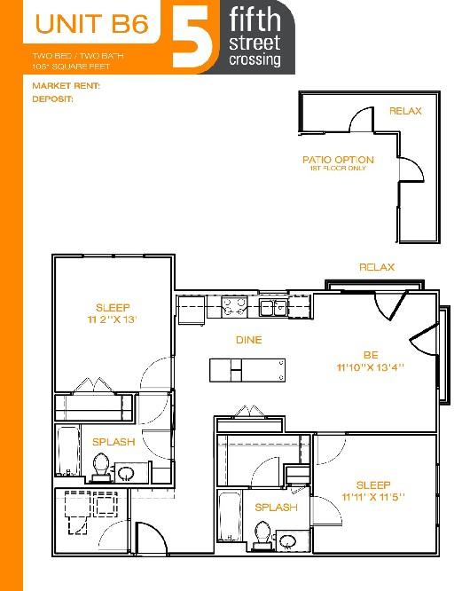 1,051 sq. ft. B6 floor plan