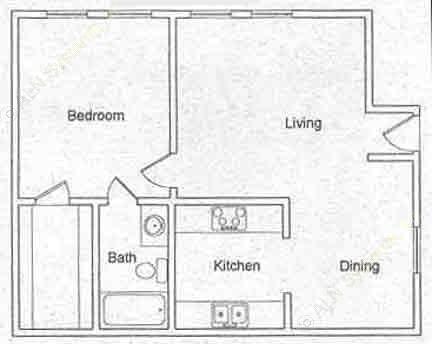 542 sq. ft. floor plan