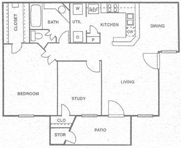 874 sq. ft. D floor plan